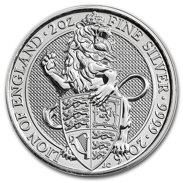British Royal Mint Queen's Beast; Lion - 2 Oz Silver Coin .9999 Pure