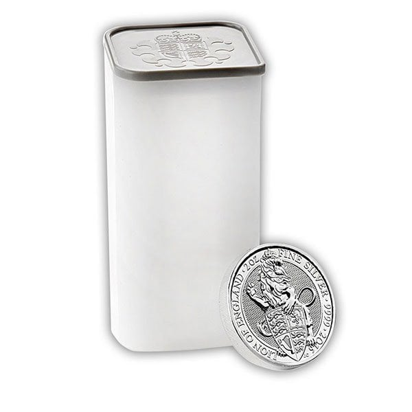 British Royal Mint Queen's Beast; Lion - 2 Oz Silver Coin .9999 Pure thumbnail
