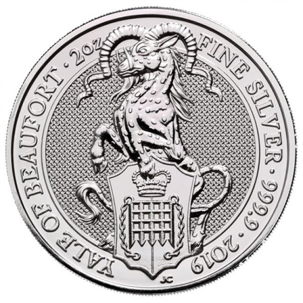 British Royal Mint Queen's Beast; Yale - 2 Oz Silver Coin .9999 Pure