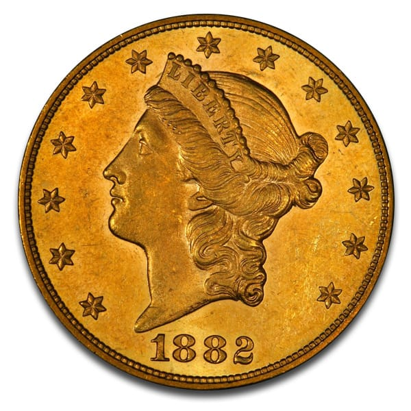 $20 Liberty U.S. Gold (1849-1907), 0.9675 Troy Ounce Gold Content
