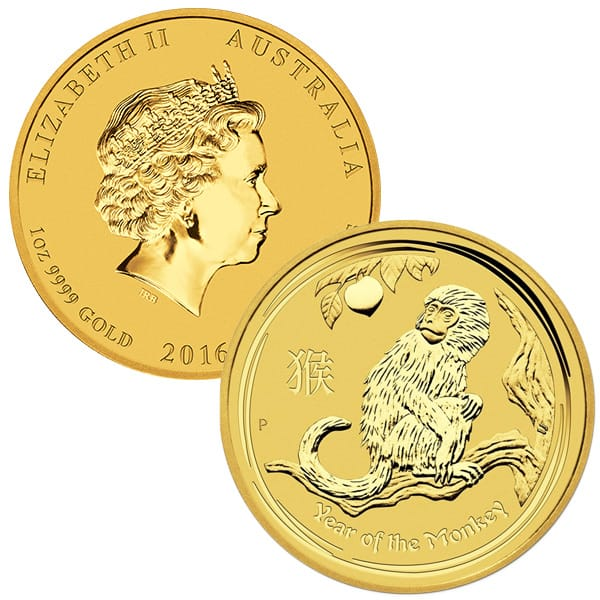 2016 1 Oz Gold Lunar Year of the Monkey thumbnail