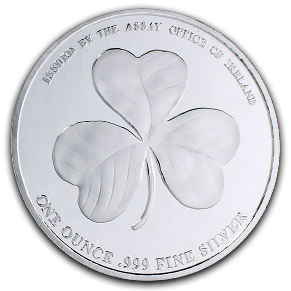Irish Shamrock - 1 Troy Ounce .999 Silver thumbnail