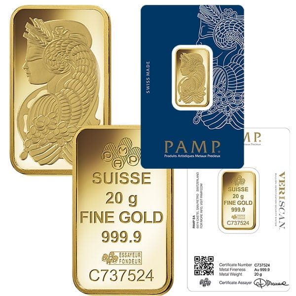 20 Gram Pamp Gold Bars For Sale Best Prices On Bullion