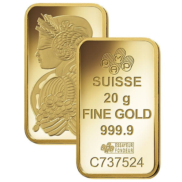 PAMP Suisse 20 Gram Gold Bar thumbnail