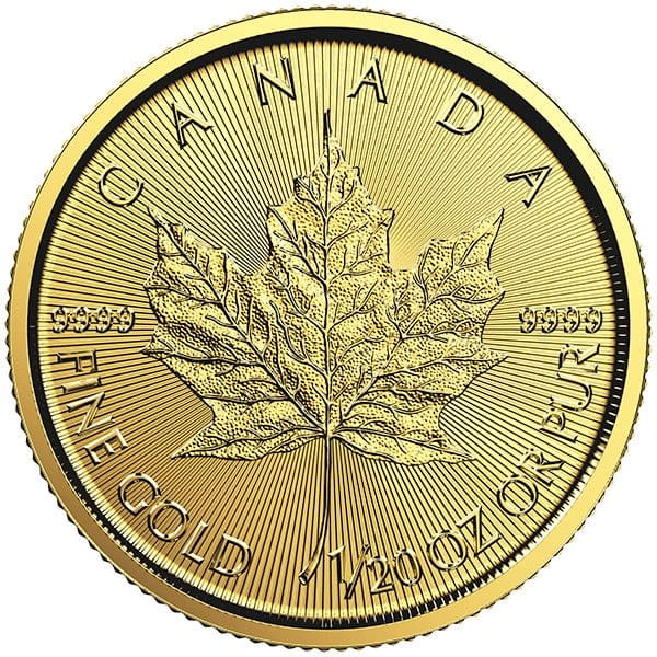 1/20th oz Gold Canadian Maple Leaf, .9999 Pure