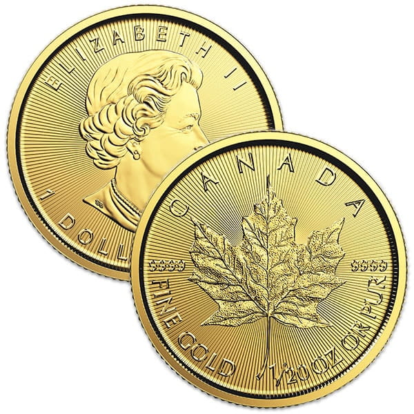 1/20th oz Gold Canadian Maple Leaf, .9999 Pure thumbnail