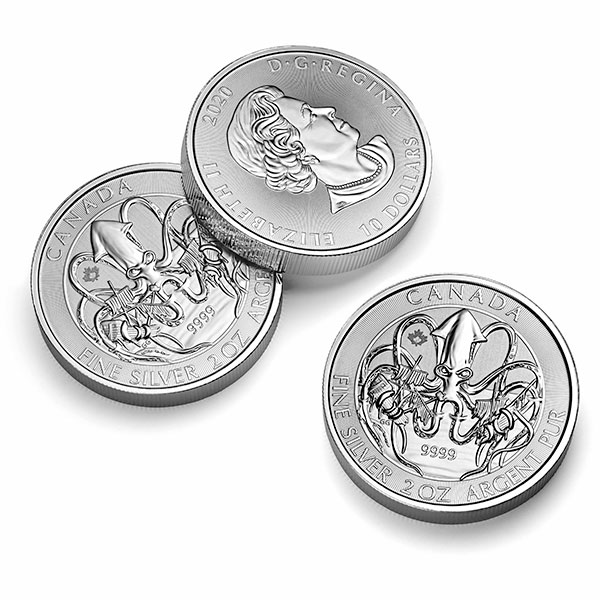 RCM Creatures of the North; Kraken - 2 Oz Silver Coin .9999 Pure thumbnail