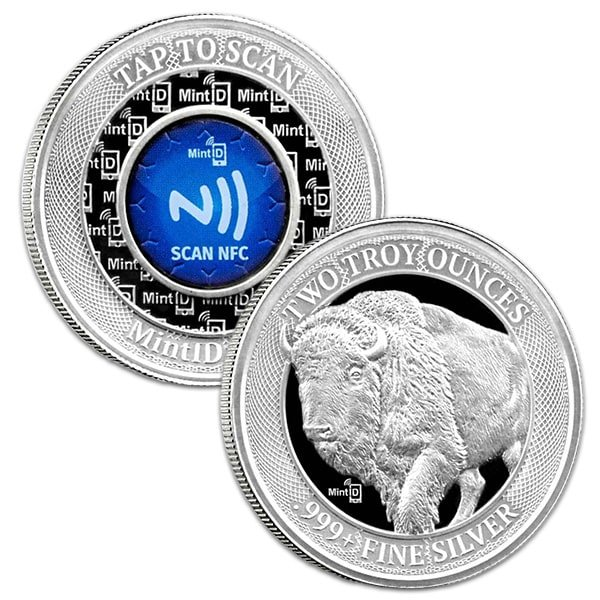MintID 2-oz Buffalo Silver Round High Relief, .999 Pure thumbnail
