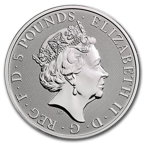British Royal Mint Queen's Beast; White Horse - 2 Oz Silver Coin .9999 Pure thumbnail