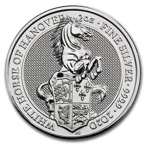 British Royal Mint Queen's Beast; White Horse - 2 Oz Silver Coin .9999 Pure