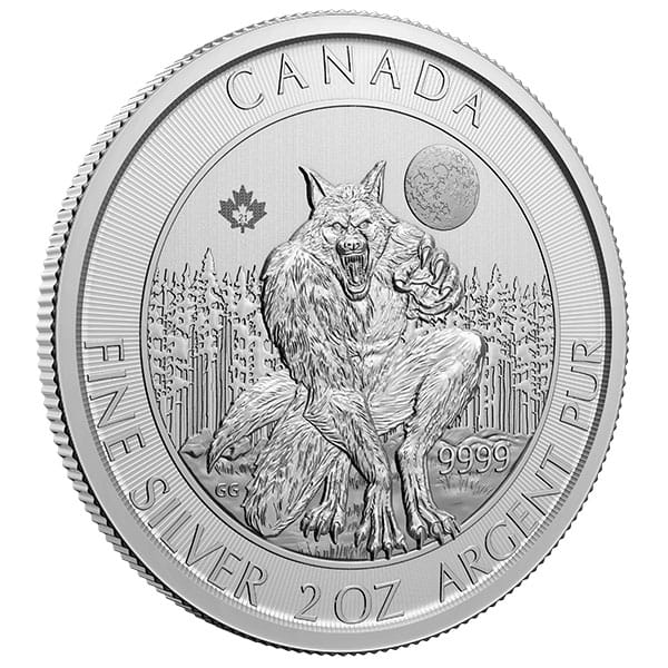 RCM Creatures of the North; Werewolf - 2 Oz Silver Coin .9999 Pure thumbnail