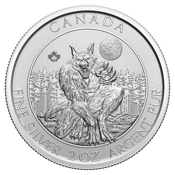 RCM Creatures of the North; Werewolf - 2 Oz Silver Coin .9999 Pure