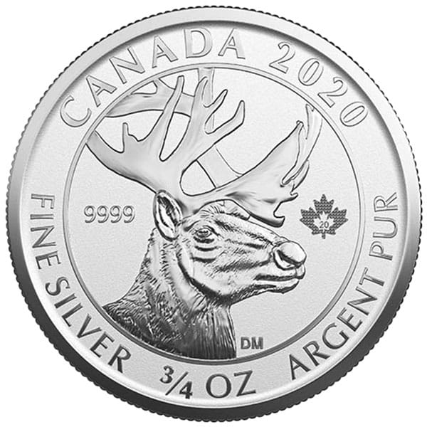 Canadian Woodland Caribou - 3/4 Oz .9999 Silver Reverse Proof