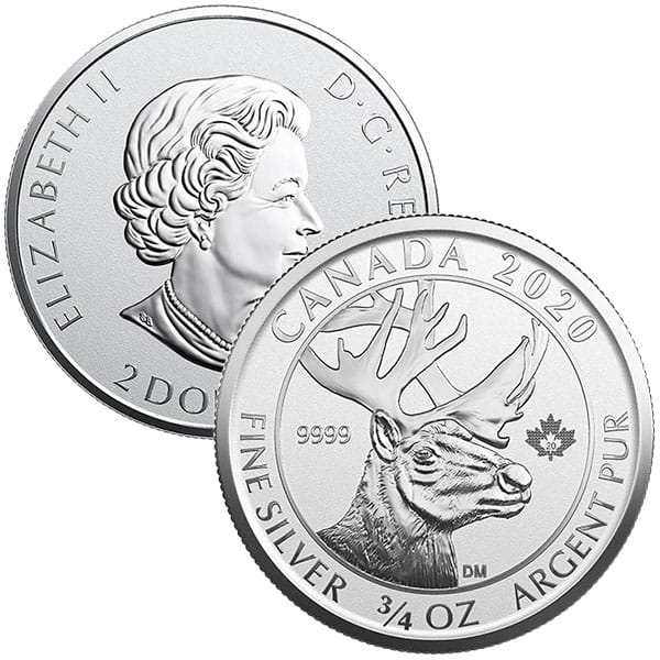 Canadian Woodland Caribou - 3/4 Oz .9999 Silver Reverse Proof thumbnail