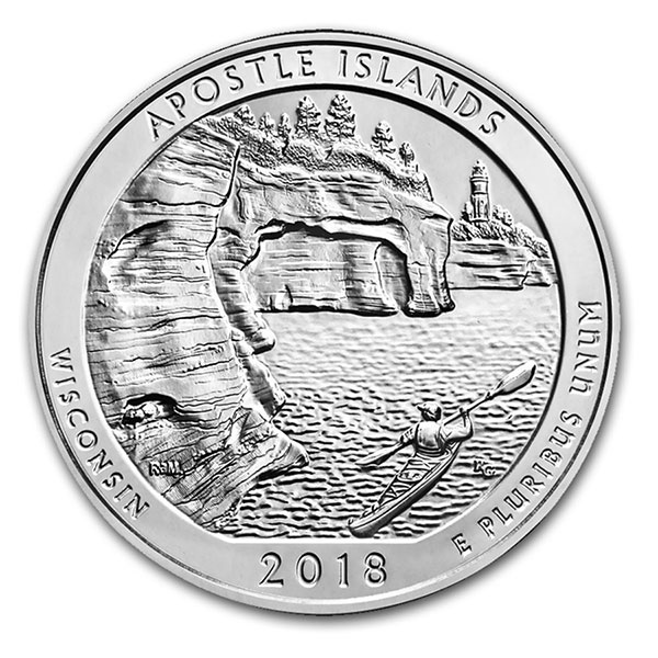 America The Beautiful Apostle Islands National Lakes 5 Ounce 999 Silver