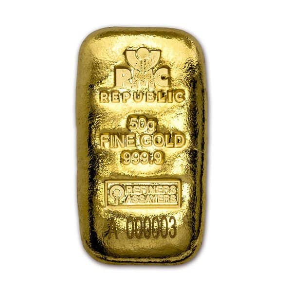 Gold Bar, 50 Grams, .9999 Pure