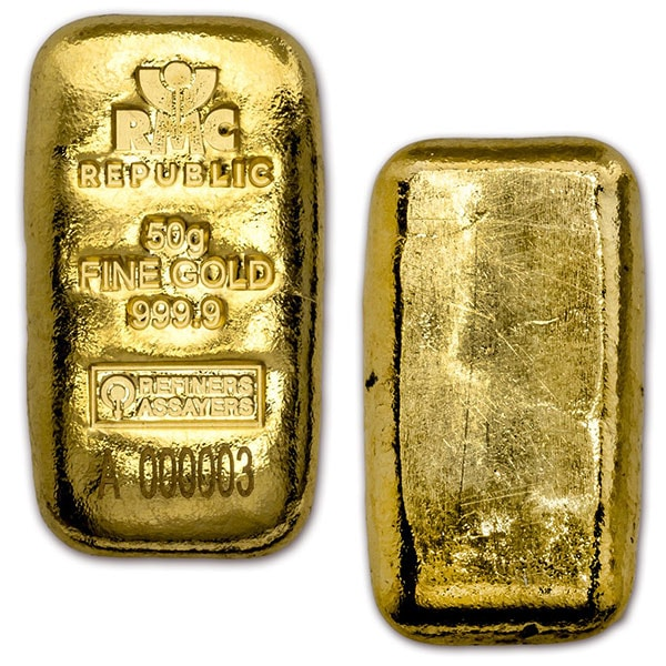 Gold Bar, 50 Grams, .9999 Pure thumbnail