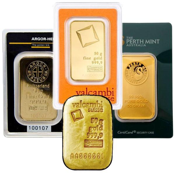 Gold Bar, 50 Gram, .9999 Pure thumbnail