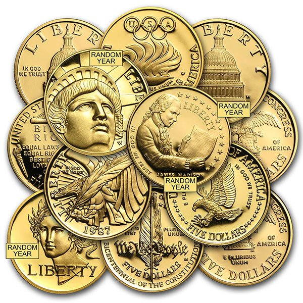 $5.00 U.S. Mint Commemorative Coin, 0.2419 Troy Oz Gold