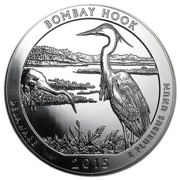 America the Beautiful - Bombay Hook National Wildlife Refuge, 5 Ounce .999 Silver