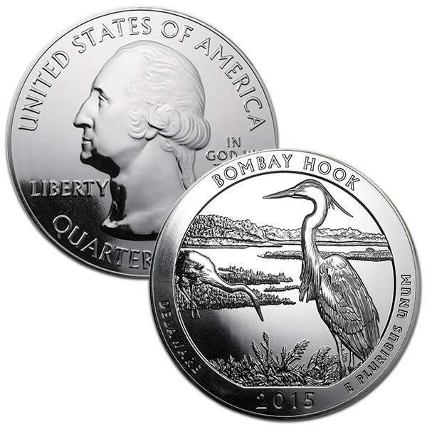 America the Beautiful - Bombay Hook National Wildlife Refuge, 5 Ounce .999 Silver thumbnail