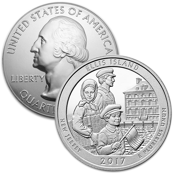 America the Beautiful 5 Ounce Silver - Ellis Island thumbnail