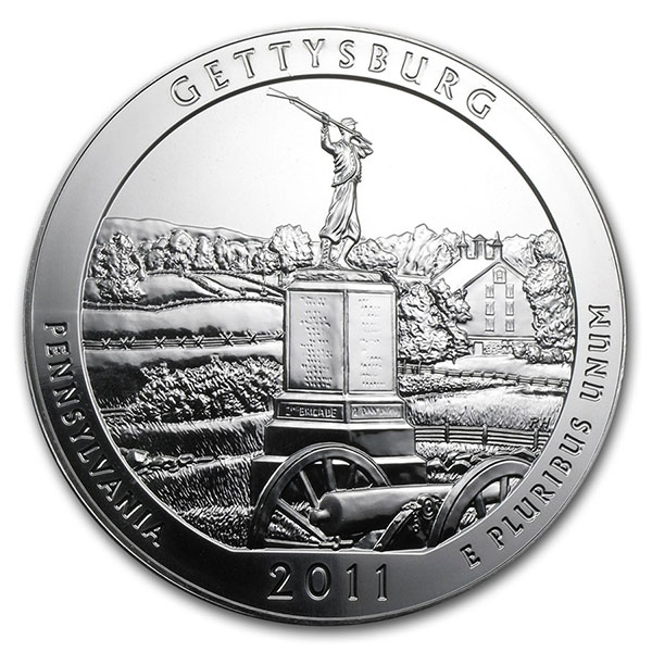 America the Beautiful - Gettysburg National Military Park 5 Ounce .999 Silver thumbnail
