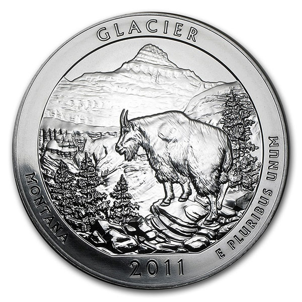 America the Beautiful - Glacier National Park 5 Ounce Silver