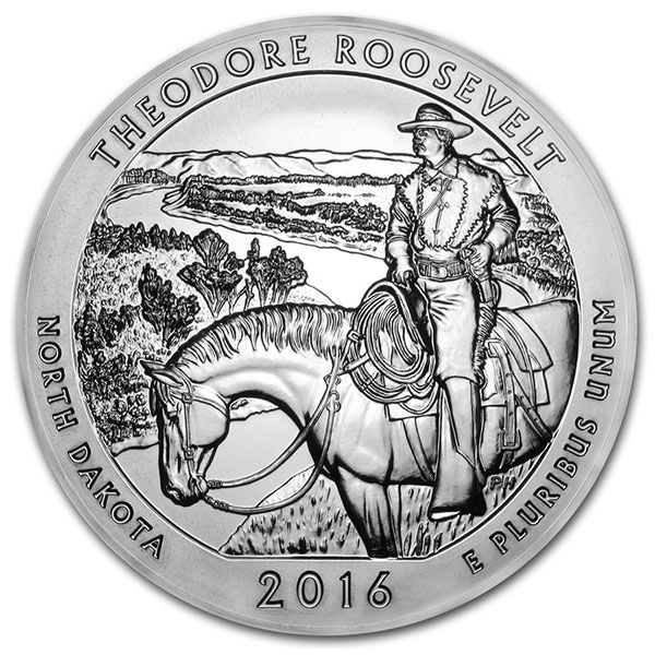 America the Beautiful - Theodore Roosevelt National Park 5 Ounce .999 Silver thumbnail