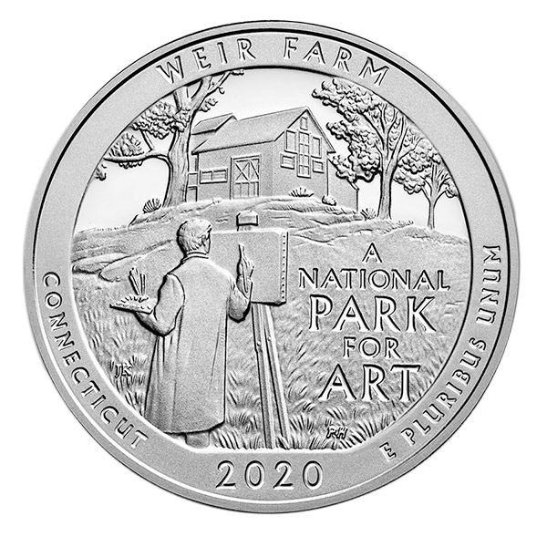 America the Beautiful - Weir Farm National Park for Art 5 Ounce .999 Silver