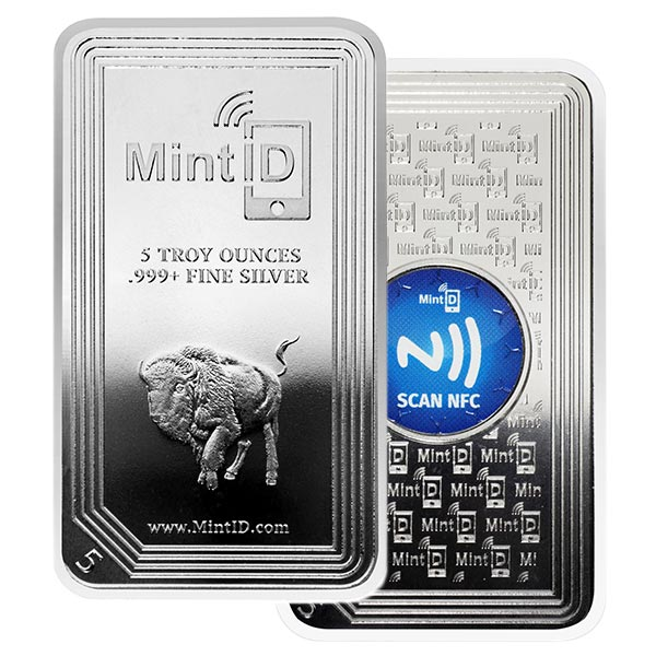 MintID Buffalo Design Silver Bar - 5 Ounce .999 Pure