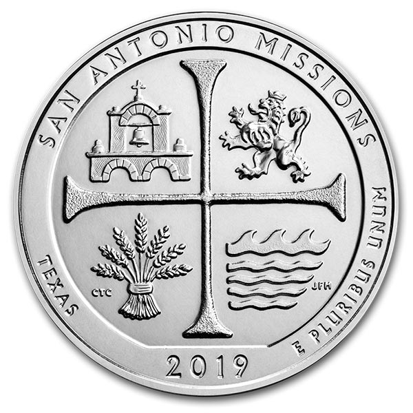 America the Beautiful - San Antonio Missions National Historical Park 5 Ounce .999 Silver thumbnail