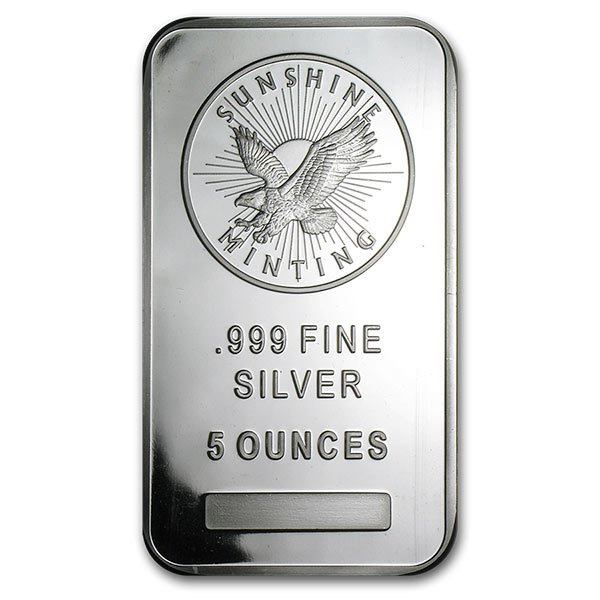 Sunshine Mint 5 Ounce Bar, .999 Pure Silver