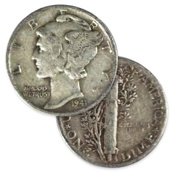 Mercury Dimes - 90% Silver (Produced 1916 - 1945) thumbnail