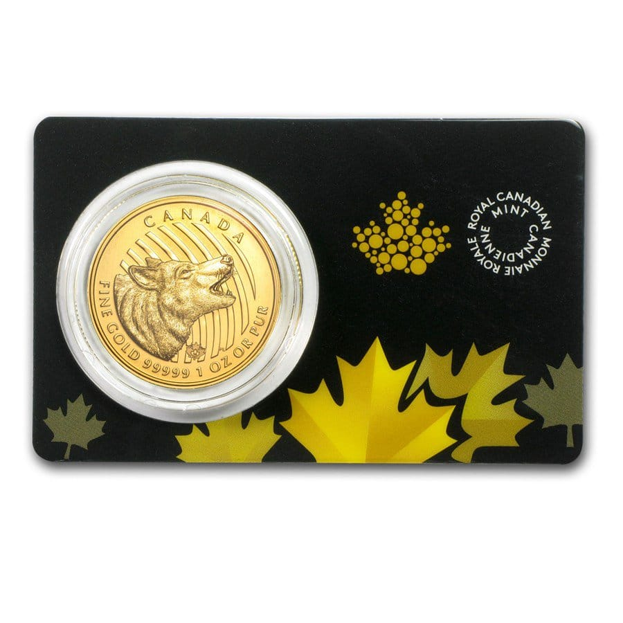 Canadian Howling Wolf - 1 Troy Oz .99999 Pure Gold thumbnail