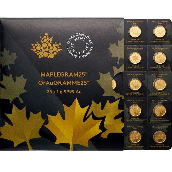 MapleGram25 - Qty 25 Maple Leaf 1 Gram Coins .9999 Gold