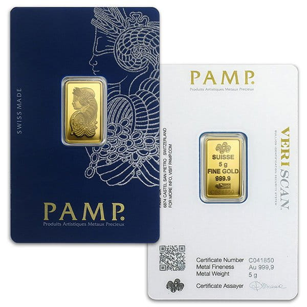 PAMP Suisse Gold Bar, 5 Gram, .9999 Pure