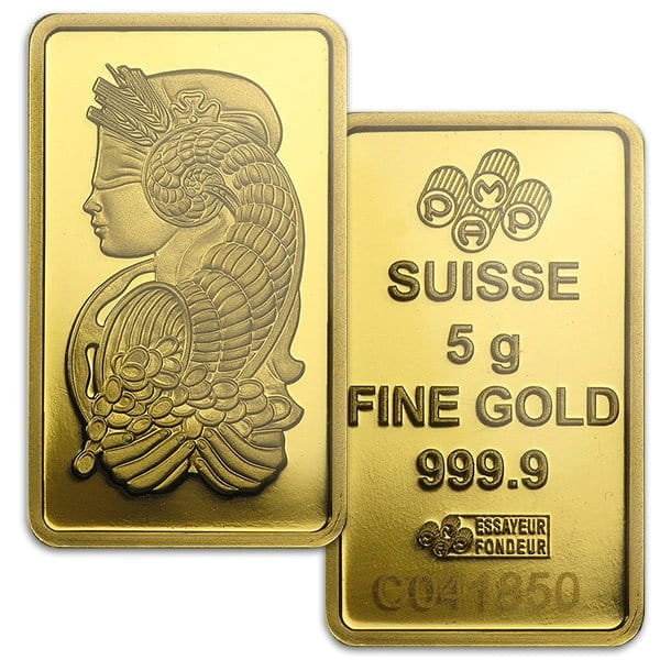 PAMP Suisse Gold Bar, 5 Gram, .9999 Pure thumbnail