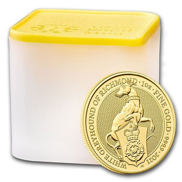 Queen's Beast White Greyhound - 1 oz .9999 Pure GOLD thumbnail