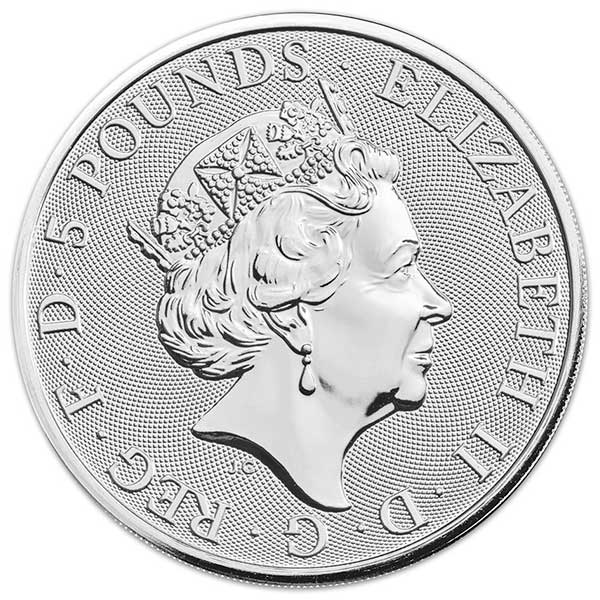 British Royal Mint Queen's Beast; White Greyhound - 2 Oz Silver Coin .9999 Pure thumbnail