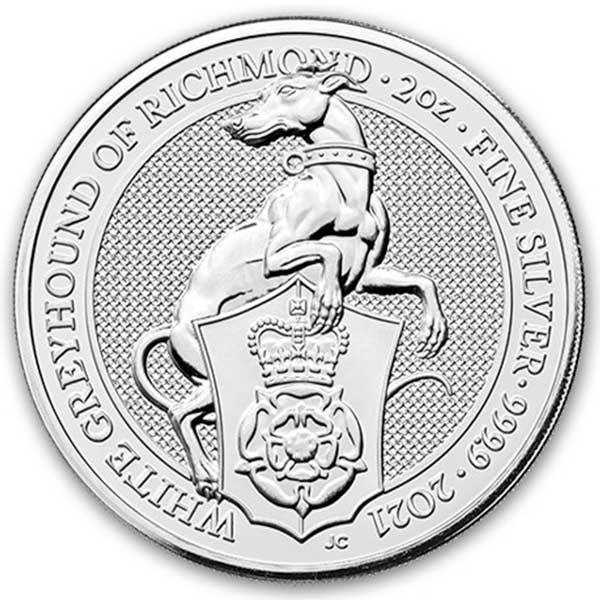 British Royal Mint Queen's Beast; White Greyhound - 2 Oz Silver Coin .9999 Pure
