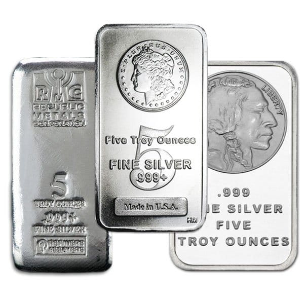 5 Ounce Silver Bar, .999 Pure