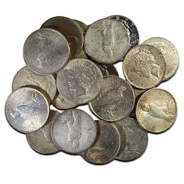 Common Circulated Cull Peace Silver Dollars, No Grade, 90% Silver thumbnail