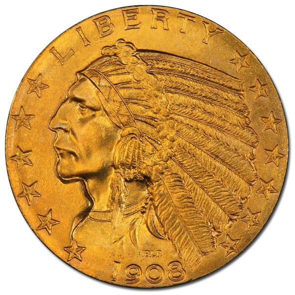 5 Indian Head 1908 1916 1929 0 2419 Troy Ounce Gold Content