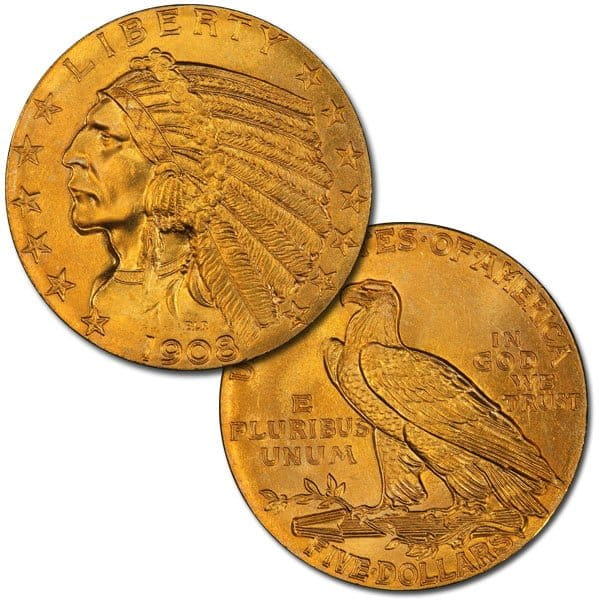 5 Dollar Indian Head Gold Coin