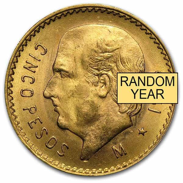 Mexican 5 Peso, .1206 Ounces Gold Content