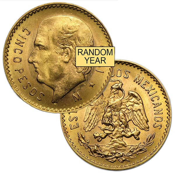 Mexican 5 Peso, .1206 Ounces Gold Content thumbnail