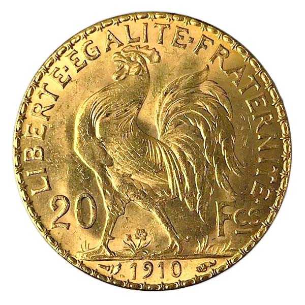 French 20 Franc Gold, Rooster/Napoleon, .1867 Ounce Gold Coin thumbnail
