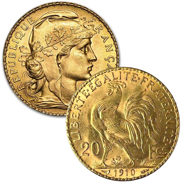French 20 Franc Gold Rooster Napoleon 1867 Ounce Coin