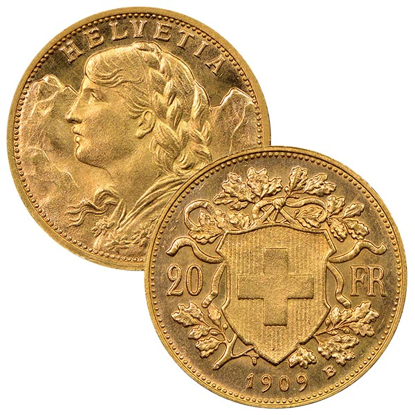 Swiss 20 Franc - .1867 Oz Gold, 90% Pure